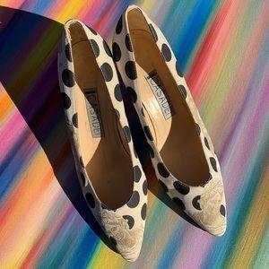 Casadei vintage polka dot patterned heels size7